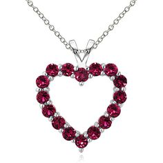 Open Heart Necklace: Ruby ($17) ❤ liked on Polyvore featuring jewelry, necklaces, jewelry & watches, red, open heart necklace, tri color necklace, ruby necklace, red necklace and red ruby necklace