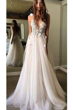 Hot Sale Cute Applique Wedding Dresses, White A-line/Princess Prom Dresses, Long White Prom Dresses, Floral Open Back Deep V-neck Straps Tulle Appliques Prom Dress,, Floral Princess Wedding Dress
