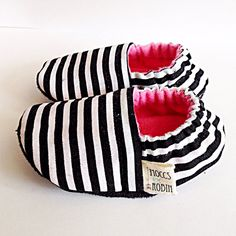 Handmade Black & White Stripe Baby Booties Pink Lining on Etsy, $23.00