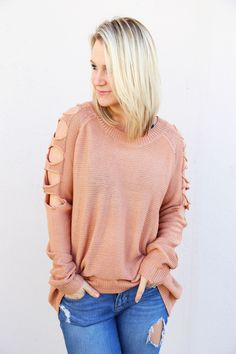 Climb The Ladder Sweater {Nude}