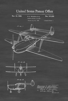 Two Engine Biplane Patent - Vintage Airplane Airplane Blueprint Airplane Art Pilot Gift  Aircraft Decor Airplane Poster Biplane Patent by PatentsAsPrints