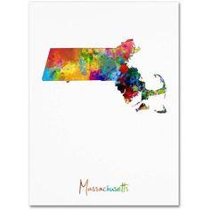 Trademark Fine Art Massachusetts Map Canvas Art by Michael Tompsett, Size: 18 x 24, Multicolor