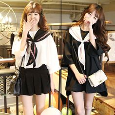 Japanese students naval uniform COS T-shirt  skirt two-piece