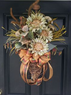Large Fall Grapevine Door Wall Wreath Swag by TheChicyShackWreaths Wreaths And Garlands, Holiday Wreaths, Door Wreaths, Thanksgiving Wreaths, Thanksgiving Decorations, Fall Swags, Wreath Crafts, Wreath Ideas, Summer Wreath