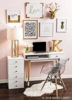 Office decor, white office desk, blush pink wall, gallery wall, acrylic chair and gold accents #gold #golddecor #decoratingwithgold