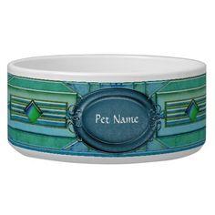 Art Deco Cat or Dog Dish Dog Bowl