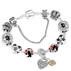 8befda504 Hot Sale Fashion Handmade Mickey Minnie Charm Bracelets Fits Brand Bracelet  For Women DIY Jewelry
