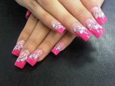 Pink, Glitter, and Stars! http://www.coolmediumlengthhairstyles.com/wp-content/uploads/2012/01/acrylic-nail-designs.jpg