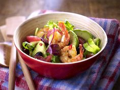 Avocado-Grapefruit-Salat mit Knoblauchgarnelen