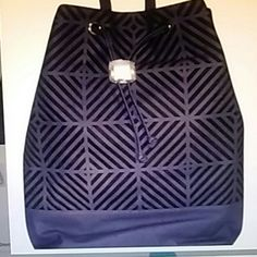 Deux Lux Cortes Backpack Deux Lux Navy snake-stamped vegan leather Cortes backpack is laser cut in a geometric pattern to reveal black vegan suede Deux Lux Bags Backpacks