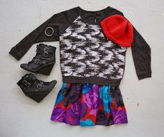 OUTFIT! Sequined sweater, redesigned vintage rose print skirt by Community Service, wedge heel boots, a vintage knit hat, and a silverware bracelet by Argyle & Foundry.