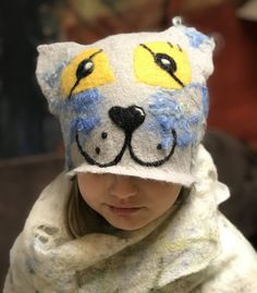 Excited to share the latest addition to my #etsy shop: Kitty Hat, cap for children,  merino wool, gift idea, artwear, werabble art, funny hat, cute hat