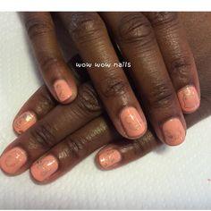 Rachel's nail design! #funnails #cutenails #springnails #coral #salmon #shellac #gelpolish #nailart #naildesign #wowwownails #toronto #nailgasm #nailporn #nailjunkie