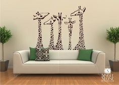 Items similar to Nursery Giraffe Wall Decals - Giraffe Family Wall Stickers Custom Home Decor on Etsy Home Design, Wall Design, Vinyl Wall Decals, Wall Stickers, Karl Valentin, Giraffe Family, Giraffe Nursery, Giraffe Party, Family Wall