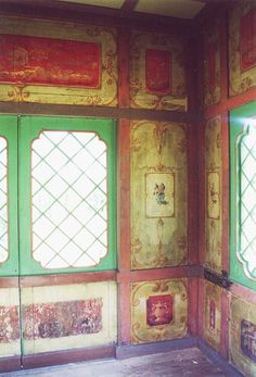 interior decoration of the Chinese House at Stowe, which is in the Pillement style wall painting Pagoda Garden, Oriental, Red Walls, China, Wall Treatments, Eclectic Decor, House Painting, Bohemian Decor, Vintage Walls