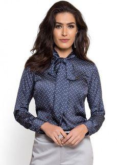 49ba717b96 camisa social com laco na gola marinho poa principessa maria lenidja look  Blusa Com Laço