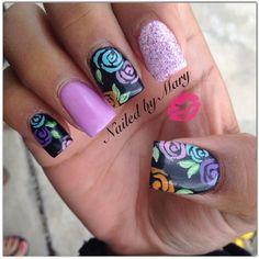 "Follow @nailedbymary on instagram! ""Floral . #nailedbymary #notpolish #copycat #nails #inspired #squarenails"""