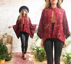 Silk Kimono, Kimono Jacket, Kimono Top, Red Lace, Black Silk, Oriental Print, Vintage Outfits, Vintage Fashion, Tango Dress