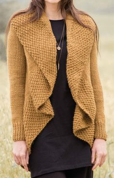 Free Knitting Pattern for Fleur Cardigan - This circle sweater features a 4 row repeat Moss Stitch collar and draped front. The body is knit in the round in one piece and sleeves are added. Bulky yarn. Designed by Berroco Design Team.