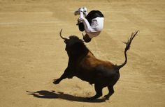 """A """"recortador"""" jumps over a bull during a bullfight in Madrid, Spain, on May 2, 2014. Recortadores is a bloodless type of bullfighting where performance consists of dodging and acrobatically leaping over a bull, and the ones who dare to get closer to the bull and show less fear are the winners. (Photo by Daniel Ochoa de Olza.)"""
