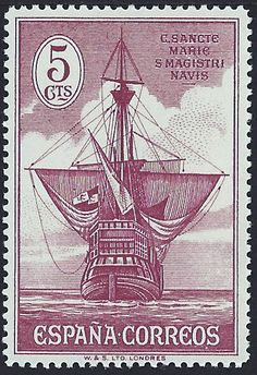 """Spain Scott #421 (29 Sep 1930) Stern of Santa María. This stamp is in a set of 16 (Scott #418-32, E8) in tribute to Christopher Columbus. The stamps were privately produced and the Spanish Postal Authorities placed them on sale for only three days. There are many so-called """"errors"""" of color & perforation. ~Via Nick"""