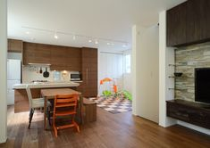 CASE403 オリーブグリーンな家 Interior, Kitchen, Table, Furniture, Home Decor, Cooking, Decoration Home, Indoor, Room Decor