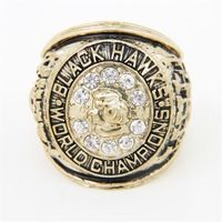 Bottom Price for 1961 Replica Ice Hockey Chicago Black Hawk Championship Ring for Fans