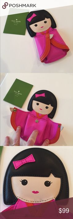 """NWOTs Kate Spade """"Hello Tokyo"""" Coin Purse New without Tags Kate Spade New York """"Hello Tokyo"""" Kimmi Doll Coin Purse. Color: vivid snapdragon / cyber orange. Smooth pink leather kimono inspired case with matching trim. Kate Spade New York. kate spade new york embossed logo on back."""" Retails around $135 these are quite rare to find and unique to Kate Spade. Size 3.5""""W 6.5""""H .5""""D kate spade Bags Wallets"""