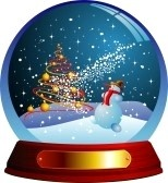 Globe : Vector snow globe with a christmas tree and snowman.