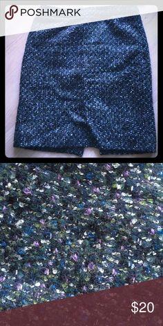 JCrew Wool Pencil Skirt. Multi-color, back zip. Perfect fall skirt! Multi-colored wool pencil skirt that hugs curves. Green, blue, black, purple and white weaves. J. Crew Skirts Pencil