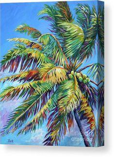 Palm Tree Print, Palm Trees, Family Tree Art, John Clark, Beach Art, Beach Mural, Beach Room, Tropical Art, Stretched Canvas Prints