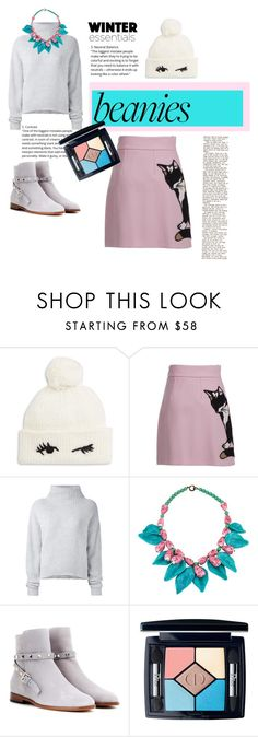 """""""pom pom beanie"""" by numberonefan007 ❤ liked on Polyvore featuring Kate Spade, MSGM, Le Kasha, Valentino and Christian Dior"""