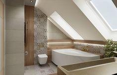 Sloped Ceiling Bathroom, Loft Bathroom, Laundry In Bathroom, Bathrooms, Bad Inspiration, Bathroom Inspiration, Attic Loft, Home Deco, Sweet Home