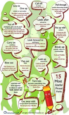 15 most useful phrasal verbs | INFOGRAPHIC | Fun Lessons for Teaching English | Scoop.it