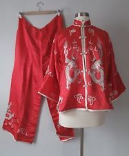 1940s Embroidered Chinese Pajamas - Silk - Dragon Five Claw - Red She Walks  In Beauty 9900144b6