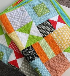 Bizzy kid quilt. I really like the quilting she did on this quilt. very cool!