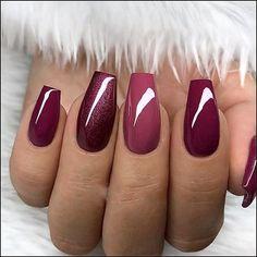 Red Nail Designs, Acrylic Nail Designs, Red Nails, Love Nails, Burgundy Nails, Ombre Burgundy, Cuffin Nails, Dark Pink Nails, Style Nails