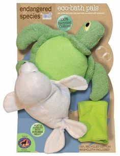 Endangered Species by Sud Smart Eco-Bath Bath Set, Sea Turtle by Endangered Species by Sud Smart. $13.51. This unique product has animal bath scrubbies that are soft and cuddly on the outside with a scrubbie belly underneath to get the kids clean, providing hour of enjoyment in the tub while learning about the endangered species of the world.  They are made from 100% recycled cotton and includes a 100% recycled cotton washcloth as well. Even the packaging is made...