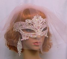 Bridal Mask, Pink Blusher Veil, Lace Masquerade Mask, Venetian Lace Mask, Fancy Mask by IrmasElegantBoutique on Etsy