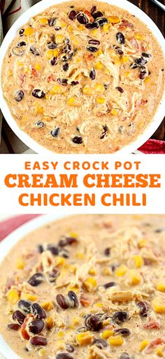 You will love this Easy Crock Pot Cream Cheese Chicken Chili Recipe! It's my family's favorite chili! - The ingredients and how to make it please visit the website dinner recipes crock pot easy Easy Crock Pot Cream Cheese Chicken Chili Simple Recipes, Easy Chicken Recipes, Easy Dinner Recipes, Easy Meals, Chili Recipes, Crockpot Recipes, Soup Recipes, Rice Recipes, Pasta Recipes