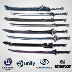 Ninja Weapons, Anime Weapons, Sci Fi Weapons, Weapon Concept Art, Weapons Guns, Fantasy Katana, Fantasy Sword, Fantasy Armor, Fantasy Weapons