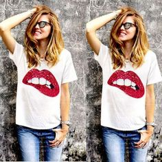 Fashion Ladies Women Sequin Decoration O-neck Short Sleeve Patchwork Casual T-shirt