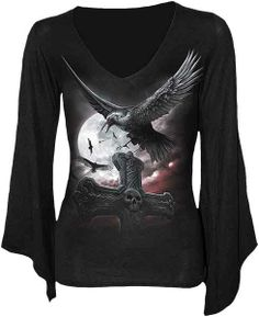 Spiral Black Night Watcher Longsleeve V Neck Gothsleeve Top