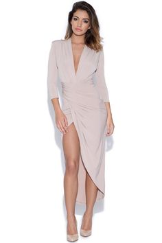 The Kim Plunge Dress available in Mink (Pictured) Coral and Pink at http://www.vestry.com/Product/85/5278/Kim-Plunge-Dress