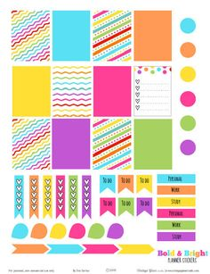 Free Bold & Bright Planner Stickers from Vintage Glam Studio. Sized for Erin Condren Life Planners and other Week At A Glance type planners.