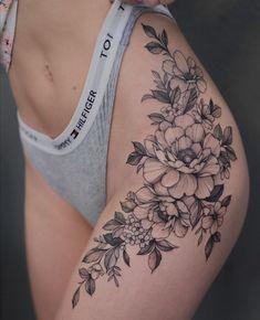 Hip Thigh Tattoos, Hip Tattoos Women, Body Art Tattoos, Girl Tattoos, Tatoos, Tattoo Girls, Piercings, Pretty Tattoos, Flower Tattoos