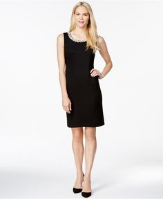 Charter Club Embellished Sleeveless Shift Dress, Only at Macy's - Dresses - Women - Macy's