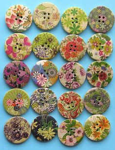 Painted Wood Buttons Extra Large Green Tone Designs