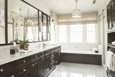 Suzie: Tim Barber - Elegant master bathroom with Grosvenor pendant, linen roman shade, glossy ...