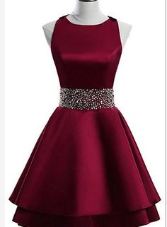 Dark Red Satin Short Two Layered Homecoming Dress, O-neckline Party Dress, Short Formal Dress - Prom Dresses Design Elegant Homecoming Dresses, Hoco Dresses, Dresses For Teens, Pretty Dresses, Evening Dresses, Formal Dresses, Dress Prom, Elegant Dresses, Wedding Dresses